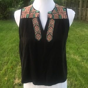 FOREVER 21 EMBROIDERED BLACK TANK TOP SIZE M